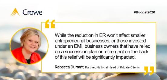 Rebecca Durrant Budget 2020