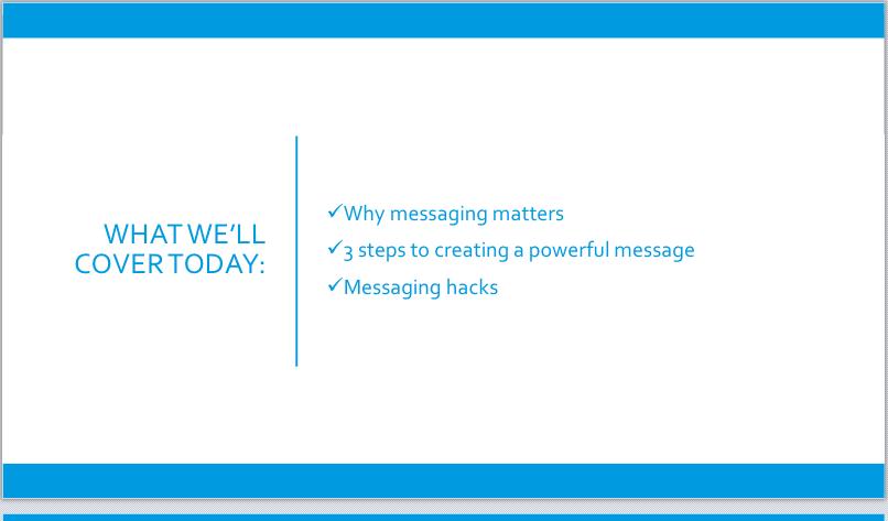 Sales messaging workshop