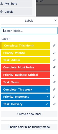 Trello labels after simplification